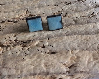 Chips earrings, square, turquoise blue, ceramics, gift wife