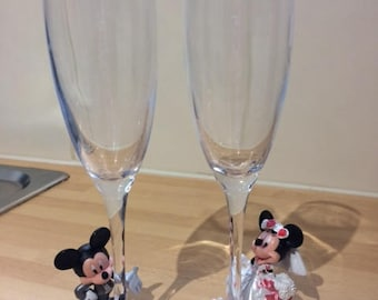 Mickey and Minnie Wedding Champagne Flutes