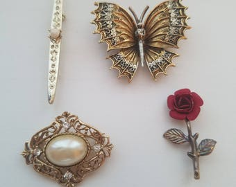Unique and Antique! Gold Tone One Of A Kind Victorian Baroque Brooches! Red Rose - Gold and Pearl - ART Signed Butterfly-Long Gold Tone Pin
