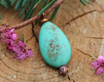 Turquoise Necklace, Womens Necklace, Turquoise Magnesite Necklace, Turquoise Pendant, Rustic Necklace, Turquoise Jewelry, Turquoise