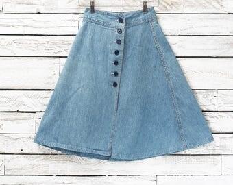 Denim High Waisted Skirt | XS jean skirt | Vintage jean skirt | Vintage high waist skirt