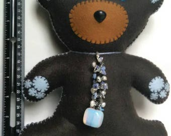 Teddy Bear, Handcrafted, Zodiac, Cancer, 9-10 inches, comes with Opalite keychain attached.