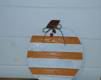 Sale-stripe pumpkin made from refurbished wood. Great for fall decor.