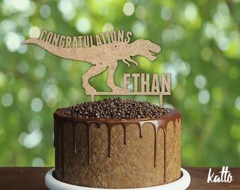 Dinosaur Birthday Cake Topper- Customizable Birthday Cake Topper- Dinosaur Cake Topper- Silhouette Tiranosaurio Rex Cake Topper- Cake topper