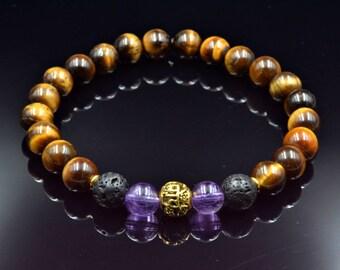 Men's Stretch Bracelet Gemstone Bracelet  Tiger's eye Bracelet Beaded Bracelet Amethyst Bracelet Elastic Bracelet Gift for Men Gift for Him