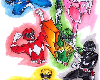 Power Ranger Art Print Poster (various sizes)