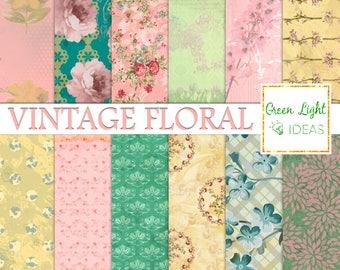 Floral Vintage Digital Papers, Shabby Scrapbook Papers, Spring Backgrounds, Junk Journal Floral Digital Paper, Decoupage Digital Texture