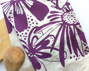 Hand printed Tea Towel, Bloom, Flour Sack Towel, Kitchen Towel, All Natural Cotton Towel