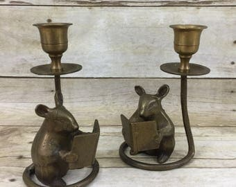 Mouse Reading Book Brass Candlesticks - Set of Two Vintage Candle Holders
