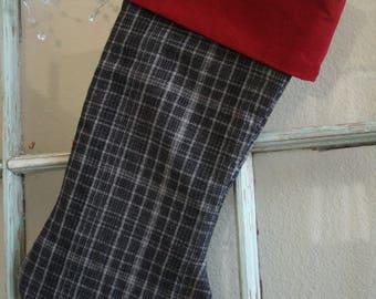 Gray Plaid Flannel Stocking #5