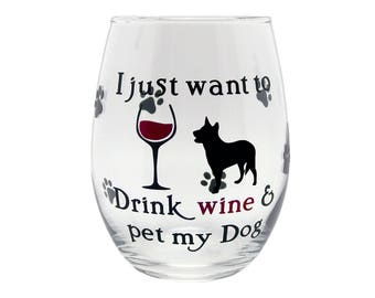 Funny Dog Stemless Wine Glass Gift for Mom - Drink Wine & Pet My Dog