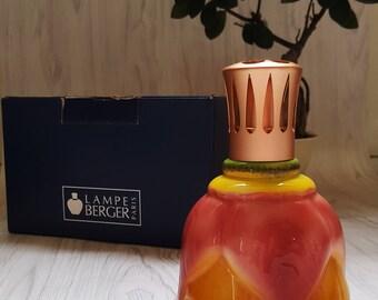 Art Glass Pink Orange Tulip Petals Design Sphere Glass Brass Top Vintage Lampe Berger Catalytic Fragrance Lamp Made in Paris, France