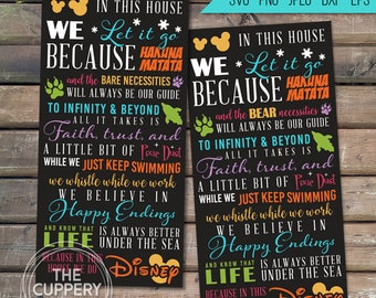 We Do Disney SVG - 2 Digital files, Silhouette Studio, DXF, PNG, Cricut Cutting, Sign Art Instant, Vinyl, Cuttable, Princess In This House