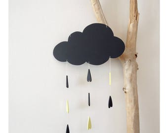 Mobile cloud and raindrops wood decorative