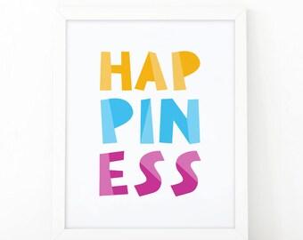 Happiness, Quote print, Colorful print, kids room decor, kids print,nursery print, wall art print, nursery wall art, scandinavian decor