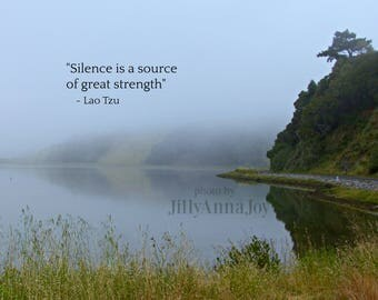 Water Reflection, Lao Tzu, Photo Quote, Nature Photography, Suitable for Framing, Wall Art, Natural Decor, Zen Decor, Fog Mist Photo