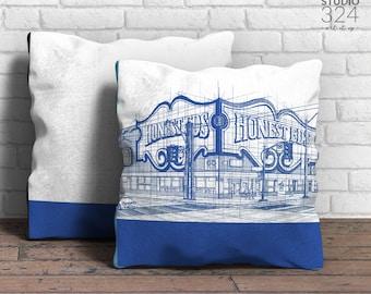 Honest Ed's Square Pillow | Blue Prints