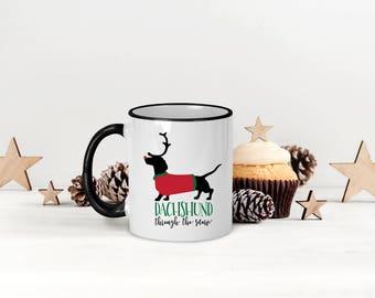Dachshund Mug, Dachshund Christmas Mug, Dachshund Through the Snow Coffee Mug, Funny Christmas Mug, Dog Christmas Mug, Dachshund Lover Mug