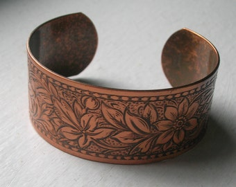 Solid Copper Cuff Bracelet Hand Engraved Flower Design - Lovely