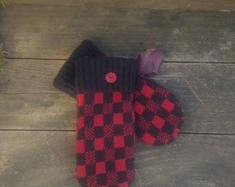 Red and black checked sweater mittens