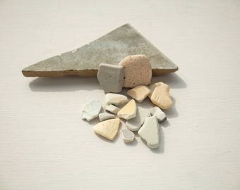 SEA POTTERY PIECES | Tile triangle fragment | Pink grey blue | Sea mosaic tiles | Pastel colours | Terrarium stones | Fairy garden decor