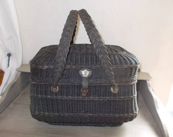 Antique French Wicker Handmade Basket Huge Monogrammed Leather catch locks shut, market basket, good condition for it's age, made in 1800's.