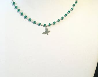 Choker necklace in 925 sterling silver and green Onyx Rosary chain