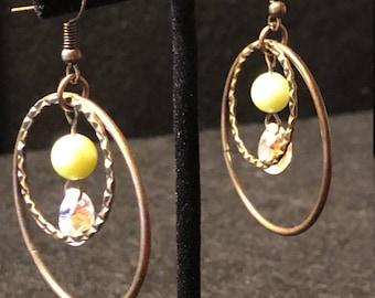 Bronza circular dangle earrings with pearls and Swarovski crystals
