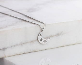 SUMMER SALE, Crescent Moon Necklace, Gold Moon Necklace, 14K Gold Necklace, White Gold, Gold Star Necklace, Gift For Her, Gold Moon Star