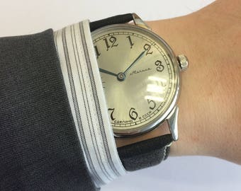 Molnija wrist watch, wrist converted marriage soviet molnija 3601, art deco watch, mens watch, dress watch