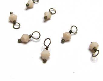 10PC. Ivory Austrian Crystal Bead Dangle Charm/Delicate handmade Crystal Bead Charm/Antique Bronze Tone Bead Dangle