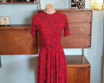 40s Red Dress. 1940's Forties Red Black Rose Belted. 3/4 length sleeve. Small.