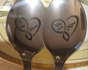 Wedding spoons, Engraved Spoon Set, Wedding Gift, Personalized Spoons, Wedding Flatware, You're mine, I'm Yours
