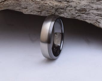 Titanium ring mens, with a domed shape and a black edge design, black titanium wedding ring, titanium wedding band men, titanium rings men