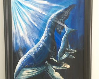 Humpbacks protection- Beach Art, Original Painting