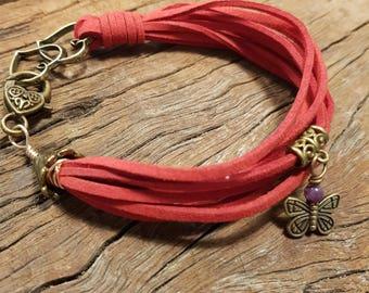Red bracelet; Suede bracelet; Butterfly bracelet; Multi strand bracelet; Boho bracelet; Bohemian; Heart bracelet; Antique gold bracelet