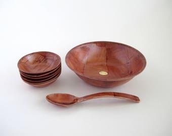 Vintage Snack Bowl Set, Formosa Wood Bowls