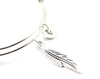FEATHER bangle, feather bracelet, personalized bangle, initial bangle, personalized bracelet, initial hand stamped, monogram bracelet