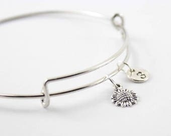 SUNFLOWER charm bangle, sunflower charm, personalized bangle, initial bangle, personalized bracelet, initial hand stamped, monogram bracelet