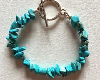 Turquoise bracelet, Silver bracelet with turquoise gemstones