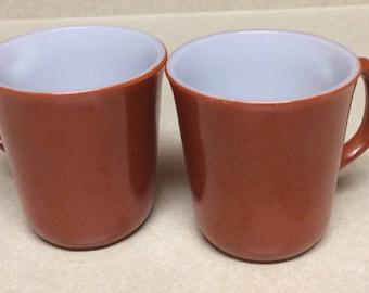 Vintage Corning Ware Corelle Burnt Orange  White Tea Coffee Mugs Set Of 2