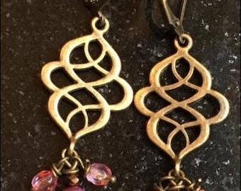 Ancient Chandelier Earrings / Antique Style Earrings / Roman Jewelry / Greek Jewelry /Pink Crystal Teardrop Gold Plated Metal Earrings