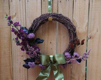 Grapevine Wreath ~ Purple and Green Flowers ~ Green Satin Bow ~ Sage Green ~ Summer Wreath ~ Spring Wreath
