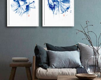 Wall Fine Art Print Watercolor Painting original Modern Home decor Contemporary navy abstract posters Set of 2 Minimalist artwork Beta fish