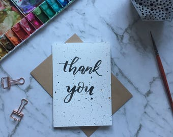 Thank You Card- Black Hand Lettering - Modern Calligraphy - Black and Gold Splatter
