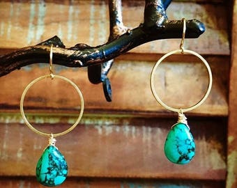 Turquoise and Brass Circle Earrings