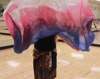 Christine! Rectangular Silk Bellydance Veil QUADRICOLOR Bellydance Costume Veil