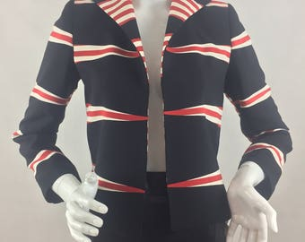 Vintage Linda Allard for Ellen Tracy Black, Red, and White Striped Jacket/Silk and Wool Fabric/Size 0