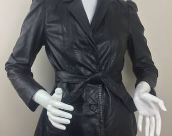 Vintage Berman's 100% Black Leather Jacket with Removable Interior Thermal Insulation/Size 8