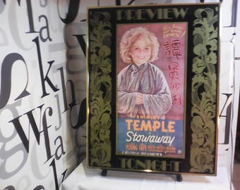 Vintage Framed Shirley Temple poster from the movie Stowaway   FREE SHIPPING